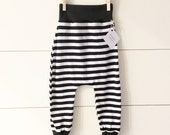 Handmade Hipster Baby Leggings | Baby Harem Pants | Baby Harems | Baby Boy Pants | Baby girl Pants | Monochrome| Black & White Stripe