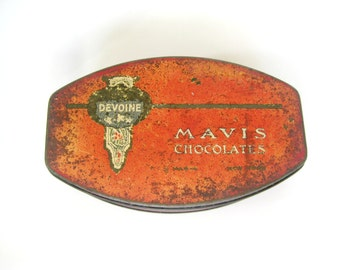 Vintage Candy Tin, Mavis Chocolate Tin, vintage tin, Chocolate Tin, Devoine Mavis Chocolate Tin, Vintage Chocolate Tin,