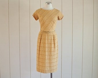 1950s Goldenrod Mustard Yellow Eyelet Cut Lace Suit Dress with Matching Belt | size Medium