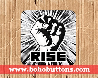 Rise Vinyl Sticker, Raised Fist Sticker, Peace Decal, Laptop Decal, Bumper Sticker, Political Trump Sticker, Stand Up, March, Protest
