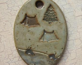 Large Glazed Pottery Pet Cremains Motif Pendant or Ornament - Custom Memorial Pet Cremation Keepsake -  CAMPGROUND