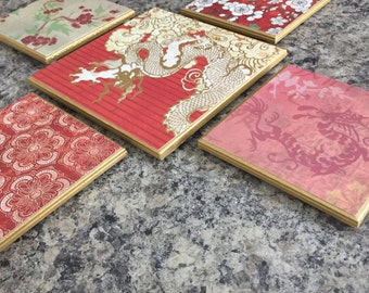 Five (5) Piece Coaster Set - Red Dragon