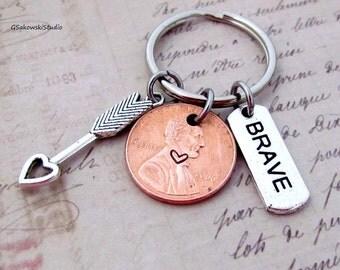 Brave Arrow Charm Lucky Penny Keychain, Heart Lucky Penny, Brave Tag Be Brave Keychain