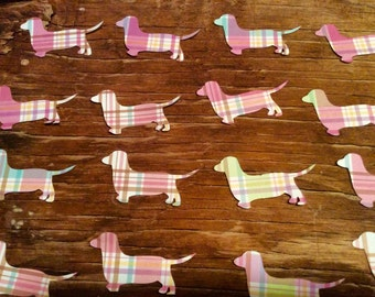 Plaid wiener dog dachshund paper cut outs FREE SHIP!