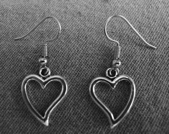 Beautiful pair of Silver Earrings with Open Heart and Hypoallergenic Surgical Steel Ear Wires