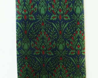 Vintage Silk Necktie, William Morris Arts and Crafts Print, Blue Green Red, Smithsonian Tie, made in Italy, Gift for Him