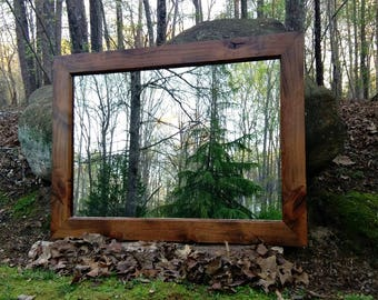 Ready to Ship!! Solid Knotty Alder Mirror, Large Wall Mirror, Alder Mirror, Bar Mirror
