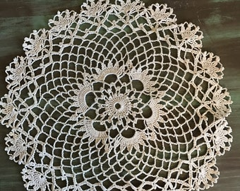 "Ecru Crocheted Doily / Vintage Cotton Doily 12.25"" Great for Vintage Decor"