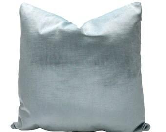 Decorative Velvet, Powder Blue Pillow Cover, Pastel Blue,  18x18, 20x20, 22x22 or Lumbar Baby Blue Throw Pillow