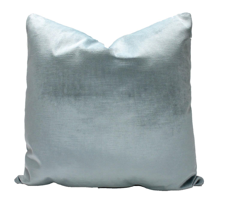 Decorative Velvet Powder Blue Pillow Cover Pastel Blue