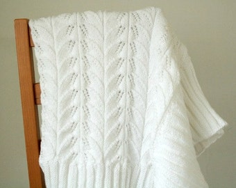 Christening Blanket, Hand Knit Baby Blanket, White Baptism Blanket, Knitted Heirloom Blanket, Christening Gift, White Wool Baby Blanket