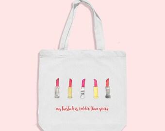 red lipstick tote bag - makeup bag - makeup tote bag  - womens beach bag - lipstick bag - glam tote bag bag - cotton beach bag