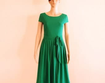 Green Evening Dress.Cap Sleeves Dress.Bridesmaid Dress