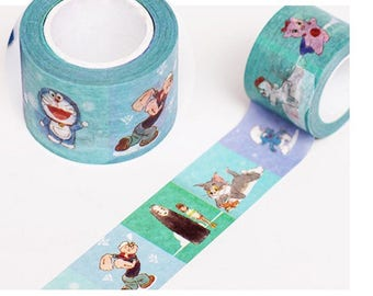 1 Roll of Limited Edition Washi Tape: My Childhood Favorite Doraemon, popeye the sailor man, tom and jerry, Spirited away