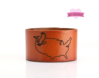 Engraved leather bracelet, laser engraved leather cuff, leather band with custom engraving, US state map outline engraving. B050-PS