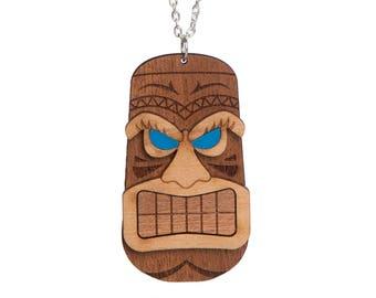 Tiki Head necklace - laser cut acrylic