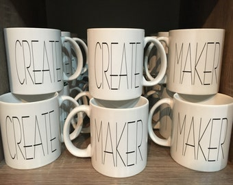 MAKER - CREATE Coffee Tea Mug // Knit - Crochet - Weave - Quilt - Paint - Artist - 11 oz -  Custom Gift