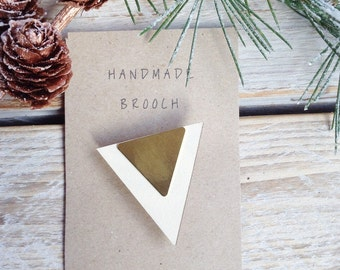 Triangle Brooch Geometric Brooch Wood and Brass Brooch Gift for Her Gift Ideas Stocking filler - white