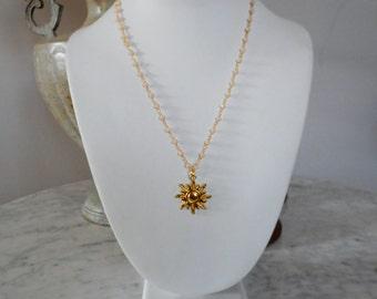 Sun Necklace, Goldtone Necklace, Dainty Necklace, Sun Jewelry,  Sun Pendant, Sun Charm Necklace, Celestial Necklace, Sun Pendant Necklace