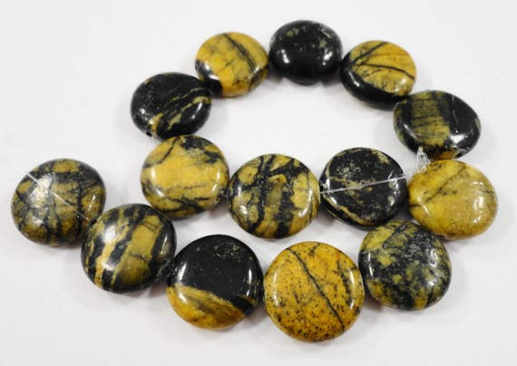 "14mm Yellow Turquoise Stone Beads, Serpentine Coin Shaped Beads, Black and Yellow Gemstone Beads on a 7 1/2"" Strand with 14 Beads"