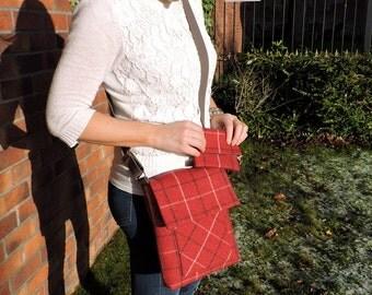 Cross body bag and wallet . Tweed messenger bag with anti theft purse. iPad bag. Shoulder bag. Satchel