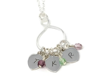 Personalized Infinity Necklace - Tiny Initial Necklace - Tiny Initial Tags with Swarovski Birthstones - Mother's Necklace