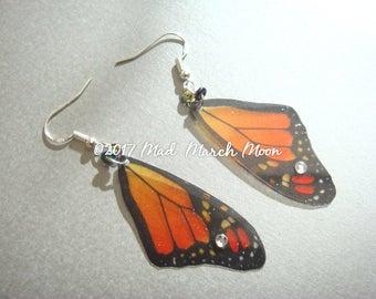 Monarch Butetrfly Earrings, rich transparent colour, Sterling Silver ear hook, latch back or clip-on