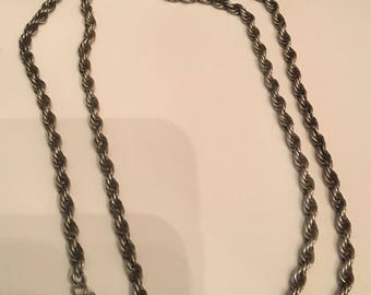 vintage sterling 26 inch 35 gm rope chain signed