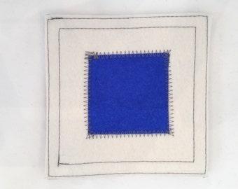 Nautical signal flag letter S wool felt coaster