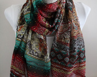 Boho Scarf, TribalScarf, Ethnic Scarf Women Accessories, Gift for Her