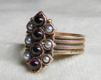 Vintage Garnet Pearl Ring 14K Rhodolite Garnet Ring Antique Seed Pearl Cabochon Garnet Aesthetic Era Unique Engagement January Birthday Gift
