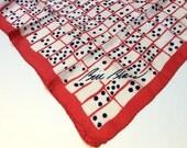 Vintage Bill Blass Silk Scarf, Designer Silk Scarf, Red White and Blue Scarf, Polka Dot Scarf, 1980s