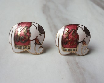 Gold Plated Cloisonne Enamel White Fortune Elephant  Post Stud Earrings 0281