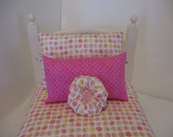 American Girl Doll Bedding Pink, White and Yeiiow