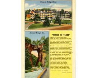 Natural Bridge VA Postcard With Poem - Bridge of Years