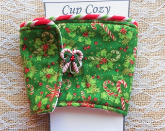 Candy Cane Christmas Coffee Cozy