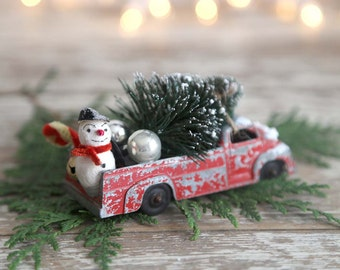 Vintage Red Truck and Christmas Tree, Bottle Brush Tree, Spun Cotton Snowman, Country Farmhouse Christmas Decor, Retro Christmas Decor