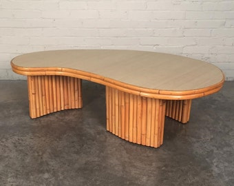 Mid Century Kidney Shape Bamboo Rattan Coffee Table Style Of Tropitan Shipping Not