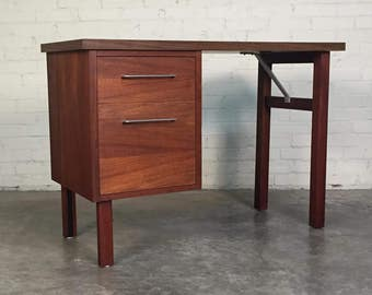 Walnut Mid-Century Modern 2-Drawer Desk By Jofco / Jasper Desk - SHIPPING NOT INCLUDED