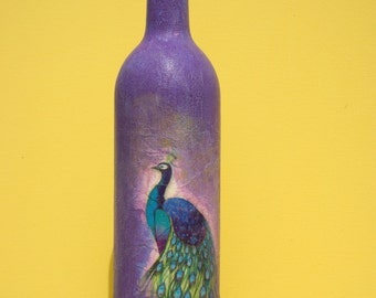 Close out.Peacock Bird.Lovely hand decorated wine glass bottle . Painted, decoupaged. Decor, gift, beautiful handmade.