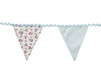 bunting banner vintage, fabric bunting, nursery bunting, baby shower bunting, birthday banner, party decoration, vintage floral rose