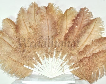 """Wheat Single-layer Ostrich Feather Fan Burlesque Dance costume 25""""x 45"""""""