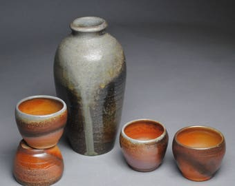 Sake Whiskey Set Wood Fired with Four Cups G58