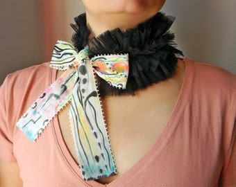Fashion tulle collar with Hand painted fabric ribbons Black ruffle neck collar Layered choker necklace with Abstract painting Chunky choker