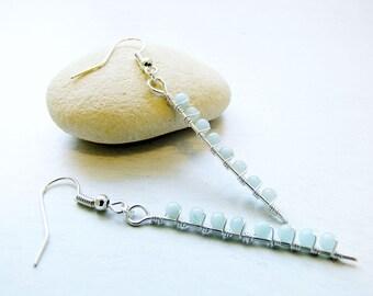 Blue Earrings, Geometric, Wire Wrap, Aventurne, Silver Dangles, Linear Earrings, Light Blue, Boho, Minimalist, Summer Jewelry, Gift for her