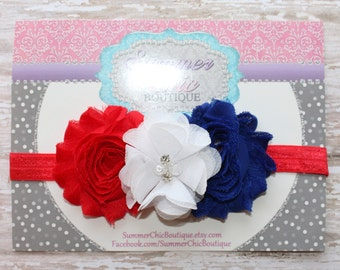 Fourth of July Headband, Infant Headband, Newborn Headband, Baby Headband, Red and Blue  Shabby Chic Headband
