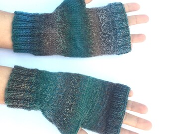 blue/green multicolored fingerless gloves; wrist warmers; gift for her or him