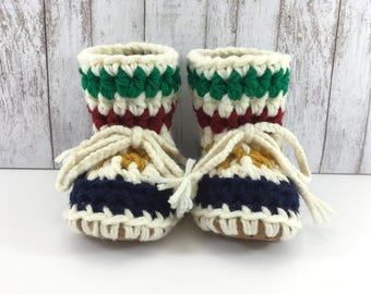 Hudson Bay with Cream Base BABY Toddler Child Crochet SHEEPSKIN Booties and Slippers with Brown Leather Suede Sheepskin Shearling Sole
