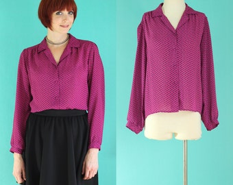 Vintage 80s Hot Pink Blouse - Sheer Blouse - Houndstooth Polka Dot Blouse - Pink and Black Long Sleeve Blouse - Dressy Tops - Size Large