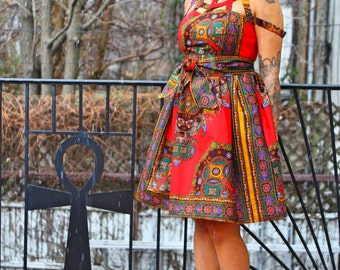 African Print Cage Red Java Wax Print Dress